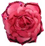WD2U 3 in 1 Large Sequin Rose Flower Hair Bow Clip Brooch Pony Fuchsia 1148