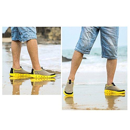 Enllerviid Uomo Maglia Slip On Water Scarpe Casual Quick Dry Barca Da Spiaggia Scarpe 530 Kaki