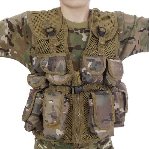 Kids Army All Terrain Camo Combat Vest - Fits Ages 5-13 Yrs  -