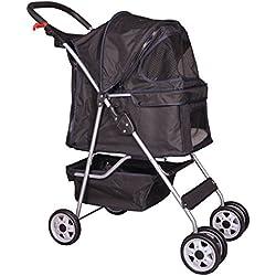 Alek... Pet Stroller Carriage Dog Cat Carrier Deluxe 4 Wheel Easy Folding, Walk, Travel, Black