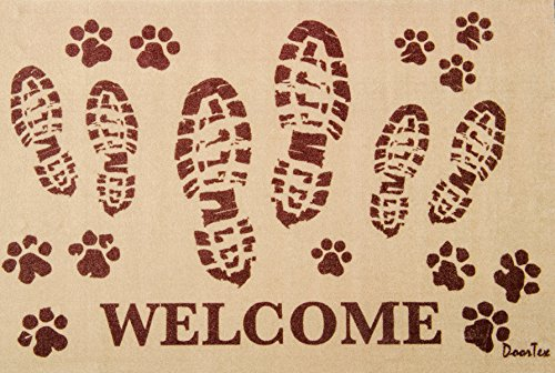 Entrance Scrape (Doortex, Indoor Entrance Mat, Welcome Mat with Bootprint Design, Rectangular, 24