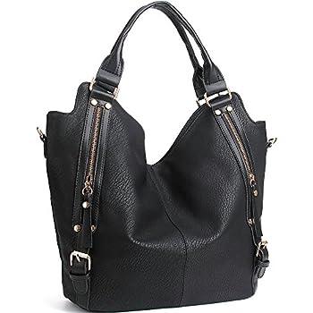 c5a646d39 JOYSON Women Handbags Hobo Shoulder Bags Tote PU Leather Handbags Fashion  Large Capacity Bags Black