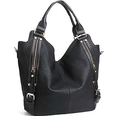 JOYSON Women Handbags Hobo Shoulder Bas Tote PU Leather Handbags Fashion Large Capacity Bags (Black)