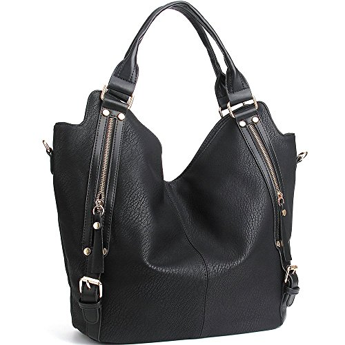 (JOYSON Women Handbags Hobo Shoulder Bags Tote PU Leather Handbags Fashion Large Capacity Bags Black)