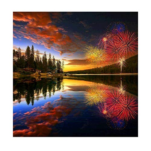 MXJSUA 5D DIY Diamond Painting Kit by Number Full Drill Round Beads Crystal Rhinestone Embroidery Cross Stitch Picture Supplies Arts Craft Wall Sticker Decor 12x12In Riverside Fireworks -