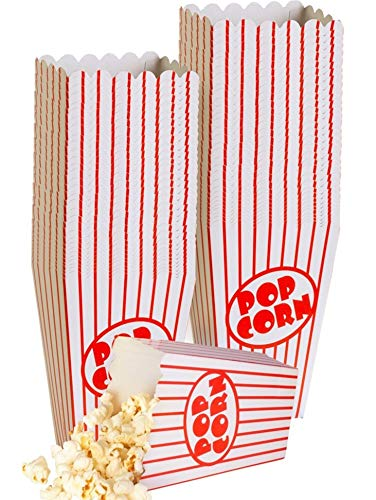 (Small Movie Theater Small Popcorn Boxes - Paper Popcorn Boxes Striped Red and White - Great for movie night or movie party theme, theater themed decorations or Carnival party circus)