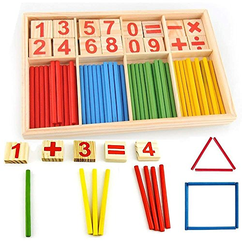 (Huiee Counting Sticks Wood Toy Math Manipulatives Wooden Number Cards Counting Rods Kids Preschool Educational Toys)
