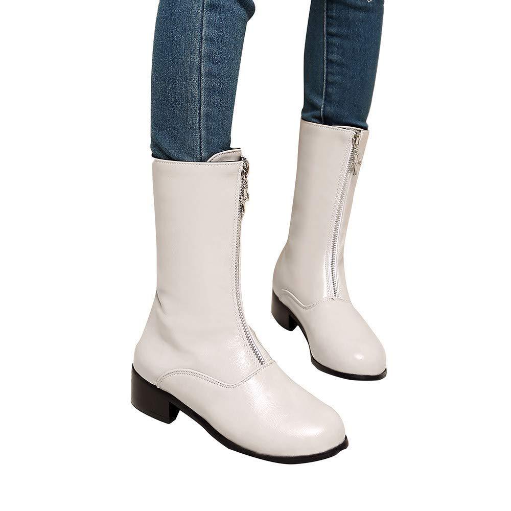 62247b6fa38 Qiusa Mi Bottes Au Genou Femmes Cheville Hiver Chukka Chaussures Moto  Équitation Désert Tactique Fermeture À Glissière Semelles À Talons ...