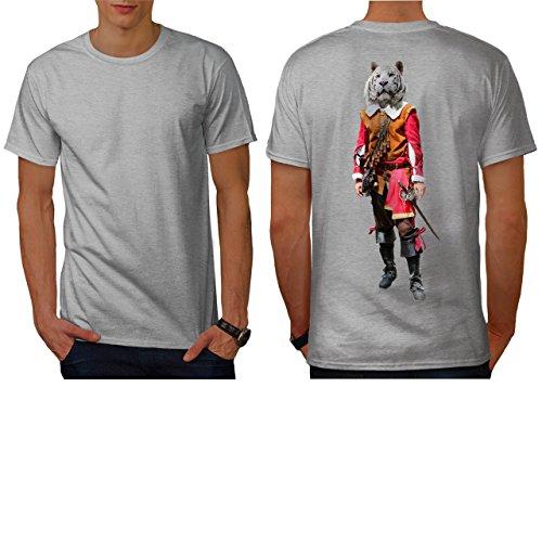 [Tiger Head Pirate Costume Cat Men NEW L T-shirt Back   Wellcoda] (Pirate Kitty Costume)