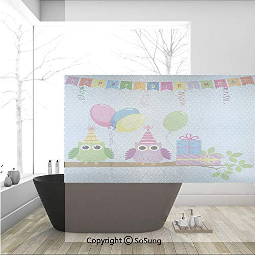 3D Decorative Privacy Window Films,Cartoon Owls at a Party with Flags Boxes Polka Dot Backdrop,No-Glue Self Static Cling Glass Film for Home Bedroom Bathroom Kitchen Office 36x24 Inch