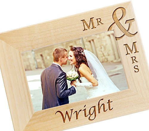 Personalized Mr and Mrs Picture Frame, Engraved Wood Photo Frames for Newlyweds, Wedding Gift for Couples - WF02