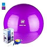 Exercise Ball - 65cm purple -Yoga Ball - Pilates Ball - Gym Ball - Ideal as Yoga Ball - Workout Ball - Home Workout Ball