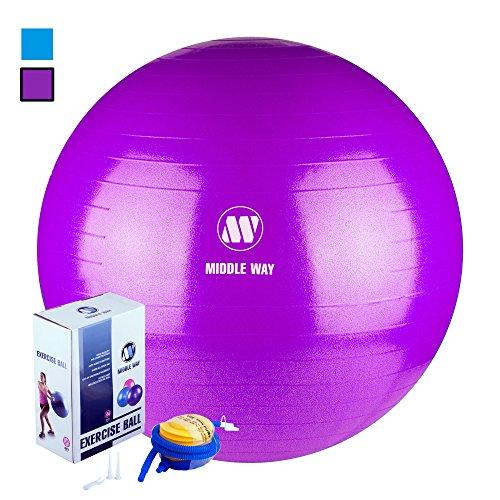 Middle Way Exercise Ball 65cm purple - Ideal as Yoga Ball, Pilates Ball, Gym Ball, Home Workout Ball.