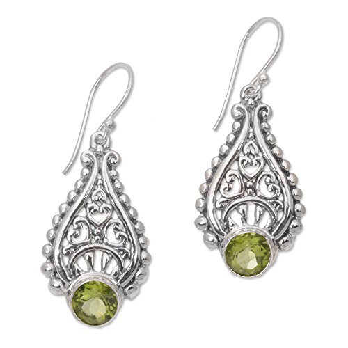 NOVICA Peridot .925 Sterling Silver Dangle Earrings 'Princess Tears in Green'