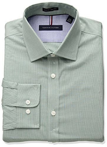 68063857 Tommy Hilfiger Men's Non Iron Slim Fit Unsolid Solid Dress Shirt,  Evergreen, 17