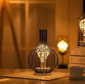 Lámpara de Mesilla de Noche con Forma de Diamante, Lámpara de Mesa de Alambre de Hierro de Estilo Nórdico con Pilas para Dormitorio, Sala de Estar (Modelo 1): Amazon.es: Iluminación