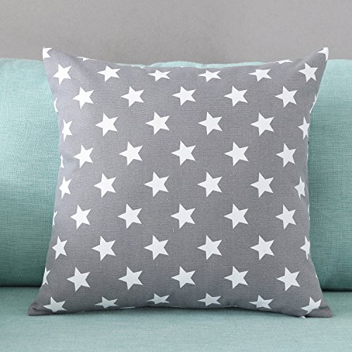 TAOSON Five-pointed Star Pattern Cushion Cover Pillow Cover Pillowcase Cotton Canvas Pillow Sofa Throw White Printed Linen with Hidden Zipper Closure Only Cover No Insert 18x18 Inch 45x45cm Deep Grey