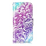 Anzeal iPod Touch 5 Case,iPod Touch 6 Case,[Light Paint] PU Leather Flip Protective Case with Card Slots & Wrist Strap for iPod touch 5/Touch 6 - Purple Lotus
