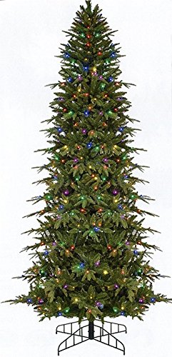 gki bethlehem lighting pre lit slim palisade artificial christmas tree with multicolored led lights