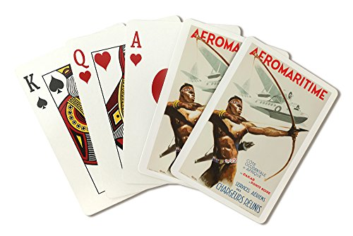 Aeromaritime Vintage Poster (artist: Brenet) France c. 1937 (Playing Card Deck - 52 Card Poker Size with Jokers)
