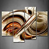 First Wall Art - Abstract Brown White Lines Wall Art Painting The Picture Print On Canvas Abstract Pictures For Home Decor Decoration Gift