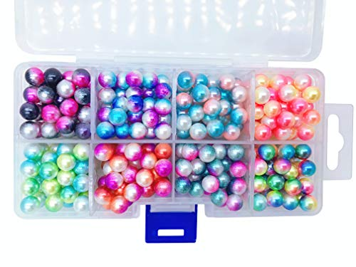 Multiple Color Bead Set, 8mm Round No Hole Pearl Beads for DIY Craft Garment Decoration Accessories ()