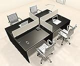 Four Persons Modern Office Divider Workstation Desk Set, #CH-AMB-FP18