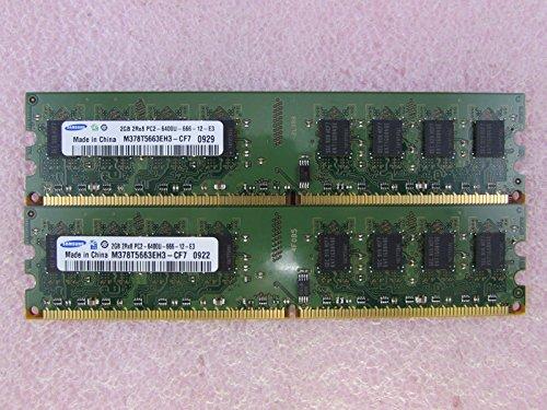 (Samsung M378T5663EH3-CF7 4GB 2 x 2GB PC2-6400U DDR2 800 NonECC Unbuff Memory Kit)