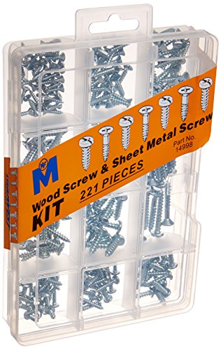 Assortment Metal (Midwest Fastener 14998 Corp 221 Piece Wood & Sheet Metal Screw Assortment Kit)