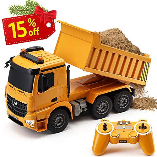 (DOUBLE  E RC Dump Truck 4 Wheel Drive 8 Channel Remote Control Truck Authorized by Mercedes-Benz Arocs RC Heavy Construction Electronics Hobby Toys with Simulation Lights and Sounds)