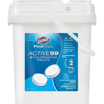 CLOROX Pool&Spa 22012CLXW Active 99 3-Inch Chlorinating Tablets, 12-Pound Chlorine