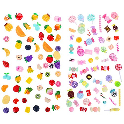 120 PCS Mixed Fruit and Sweet Candy Slime Charms Slices with Flatback for DIY Craft and Decoration -