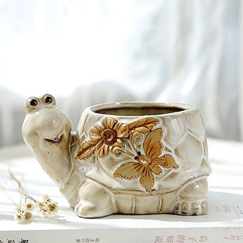 YOURNELO Vintage Ceramic Animals Plant Flower Pot Succulent Planters Vase (Tortoise ()