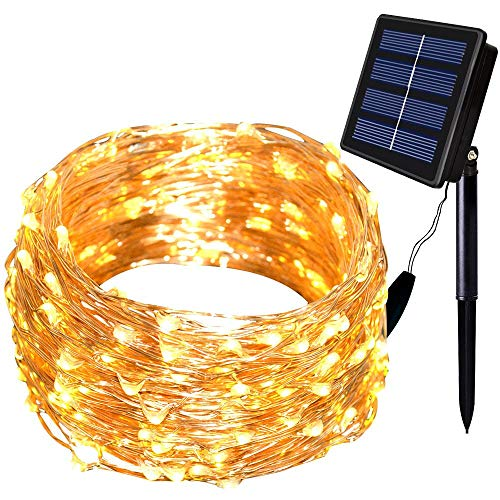 Warm White Lhomeled Solar String Lights,8 Modes 66ft 200LED Outdoor Starry String Lights,Copper Wire Waterproof Decorative String Lights for Patio,Garden,Gate,Yard,Party,Wedding,Christmas