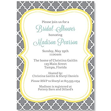 bridal shower invitations gray yellow quatrefoil trellis bridal shower wedding shower
