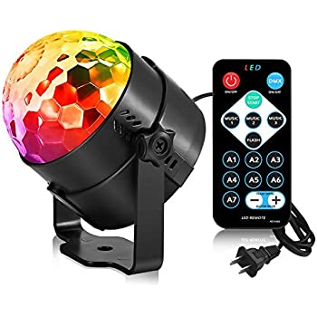 AOMEES Dance Light Disco Ball Party Strobe Light 3W Sound Activated DJ Lights Stage Lights for Halloween Christmas Holiday Party Gift Kids Birthday Celebration Decorations Ballroom Home