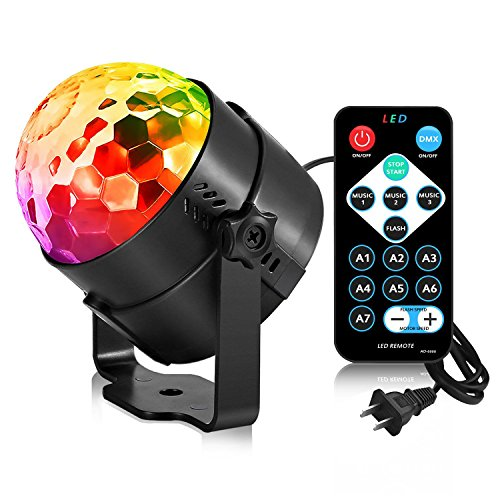 Disco Ball Party Strobe Light, AOMEES 3W Sound Activated DJ Lights Stage Lights for Halloween Christmas Holiday Party Gift Kids Birthday Celebration Decorations Ballroom Home Karaoke Dance Light