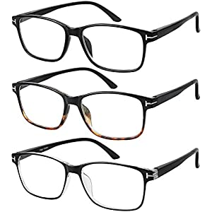 Reading Glasses 3 Pair Stylish Quality Readers Spring Hinge Glasses for Reading for Men and Women +1.5