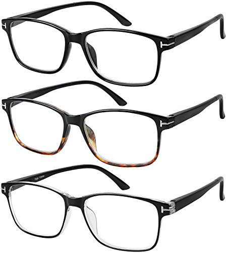 Reading Glasses 3 Pair Stylish Quality Readers Spring Hinge Glasses for Reading for Men and Women - Glasses Most Men For Popular Frames