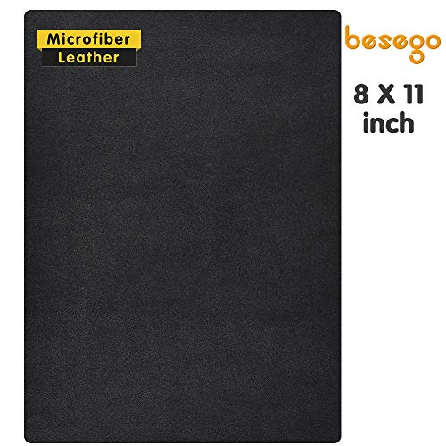Besego New Microfiber Leather Repair Patch, Leather Repair Patch for Couch, Self-Adhesive Leather Sofa Patches - 8 × 11inch (Black 1pcs)