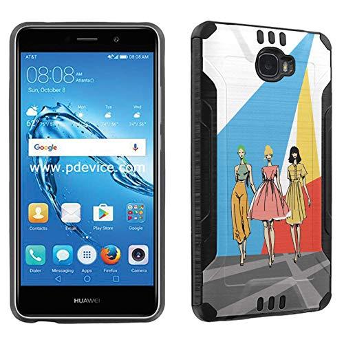 (Huawei Ascend XT2 (H1711) Phone Cover Case by [TalkingCase], Black Premium Hybrid Duo-Layer Case, Armor Cover, Made Specially for Huawei Ascend XT2,H1711,Elate 4G [Runway Fashion Girls] Print)