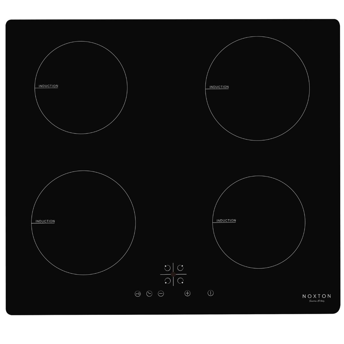 NOXTON 60cm Induction Hobs Black Glass Built-in 4 Zone Domino Electric Hob Cooker with Sensor Touch Control ITS644B1/B