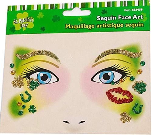 3 Pack Face Jewel Stickers Tattoo Shamrock Stickers Tattoo for St. Patrick's Day ()