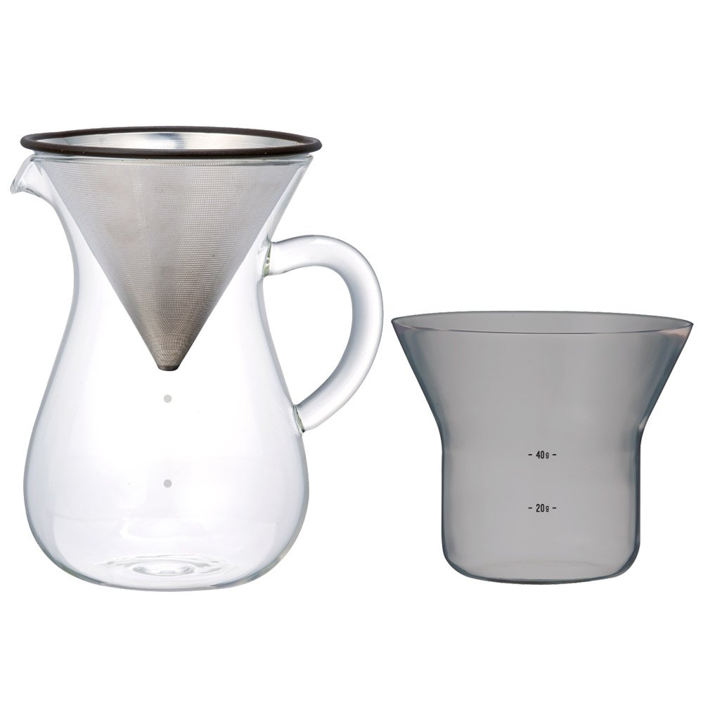 Kinto 1.1 Liter Carafe Coffee Set with Strainer No Need for Paper Filters