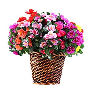 Mynse Pack of 8 Pieces Artificial Azalea Flower Bush Mutil-Color with Flower Basket 9