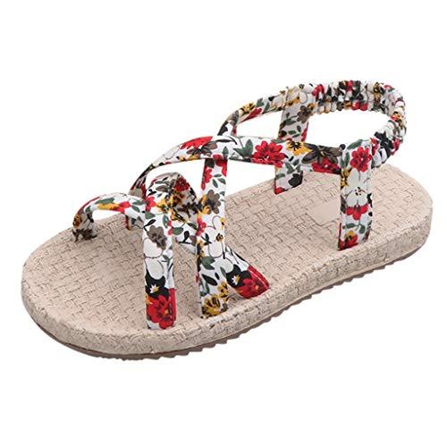 NIKAIRALEY Shoes Children Kids Girls' Open Toe Beach Sandals Summer Fashion Flat Flower Sandals Princess Flats Slippers White