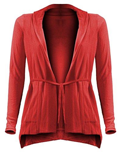 Mujer Mujeres manga larga Cardigan–Chaqueta de punto con cinturón–Boyfriend–Chaqueta de hombro jäckchen–Bolero–Chaqueta Rojo