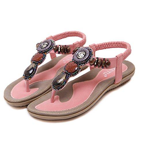 Btrada Womens Fashion Thong Sandals Rhinestone Slip On Flip Flops Flat Shoes Pink uKlsiTd