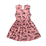 Deloito Hot Baby Girls Dresses,Toddler Infant Cartoon Dinosaur Print Cute Sun Outfits Toddler Infant Girls Summer Sleeveless Party Dress for 1-4 Years Old (Pink, 120(4T))