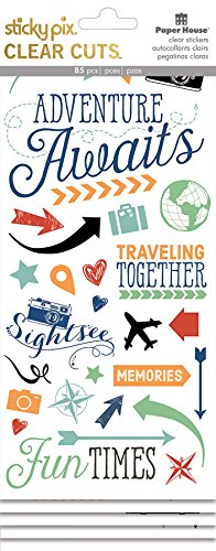 Paper House Productions Clear Sticker, Adventure Awaits, 3-Pack 3 Piece ()